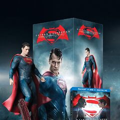 Batman v Superman: Dawn of Justice Amazon Blu-Ray with Superman figure.