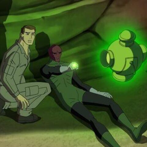 Hal Jordan with a dying Abin Sur.