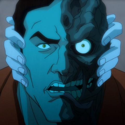 Two-Face is frozen by Killer Frost.