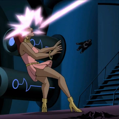 Giganta attacked by Tala's laser.