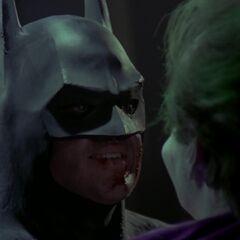 Batman confronts the Joker.