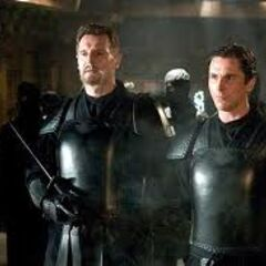 Bruce Wayne and Ra's Al Ghul as members of the league of Shadows.