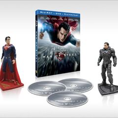 Man of Steel exclusive with figurines of Superman and Zod.