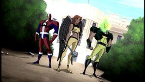 Hawkgirl, Commander Steel, and Atomic Skull