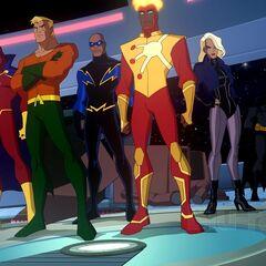 Red Tornado, Aquaman, Black Lightning, Firestorm and Black Canary arrive to help Batman.