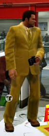 Dead rising clothing Yellow Suit with Yellow Striped Tie Modern Businessman