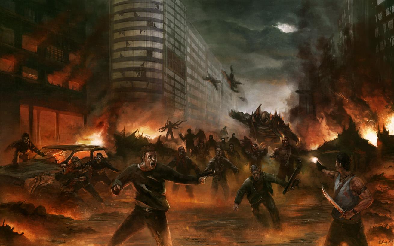 Zombie Horde Art Image - City Ho...