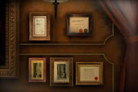 Dead rising director's office diplomas and photos around director's bust 5
