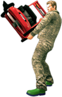 Dead rising lawn mower holding