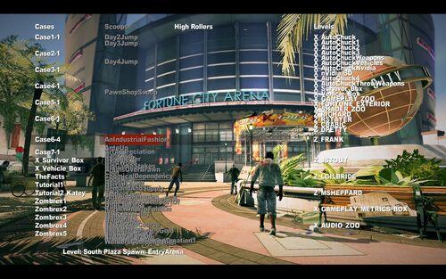 Dead rising 2 debug mode main screen