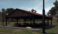 Dead rising park picnic benches and drink cans