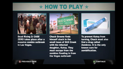 Dead rising 2 case 0 how to play info screen