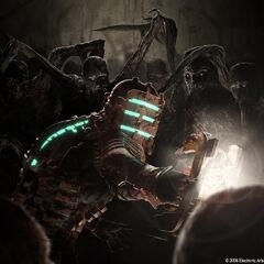 Концепт-арт к первой части игры, на котором Айзек Кларк сражается с множеством некроморфов.
