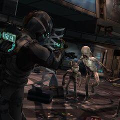 Айзек сражаеться со Стаей в транспортном узле Скопления.