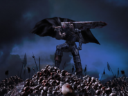 Berserk - Guts standing on the skulls of the fallen