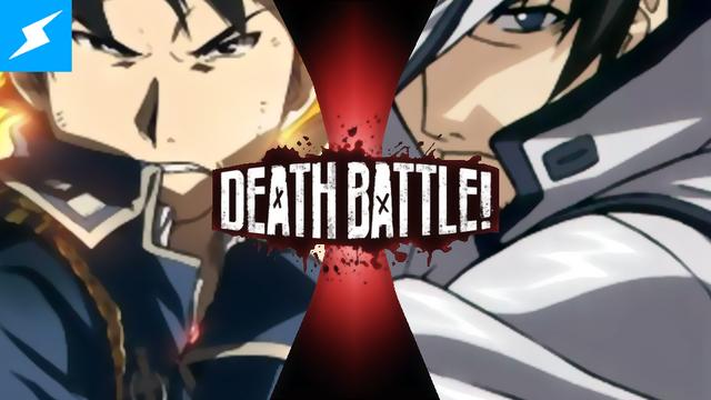 File:Death Battle Thumbnail Version 3.5 - Colonel Roy Mustang VS Captain Bravo (Buso Renkin).png