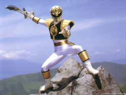 Power Rangers - Tommy Oliver's battle stance with Saba while as The White Ranger