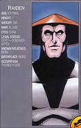 Mortal Kombat - Raiden's Profile as seen in the 1990s Comics
