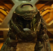 Doom - Doomguy about to wear his helmet as seen in the 2016 version of Doom