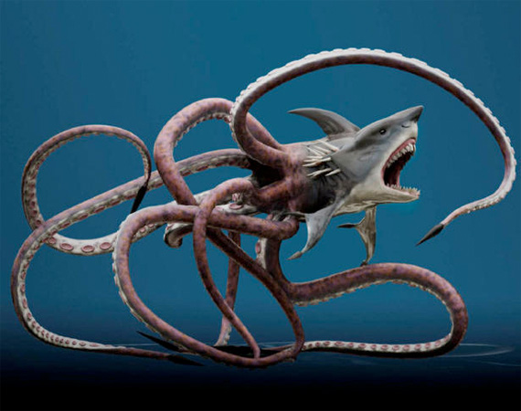 The Sharktopus, a creatuer whose front half resembles a great white shark and whose rear half resembles an octopus.