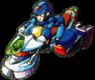 Mega Man X - Mega Man X riding a speed hover bike