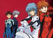 Kaworu, Rei, Asuka and Shinji