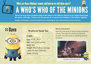 Dave Card who's who of minions
