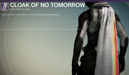 Cloak of No Tomorow