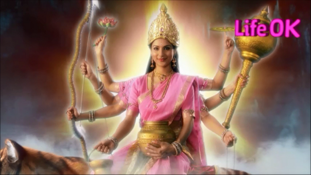 File:Eight-Armed Benevolent, Radiant and Smiling Goddess Kushmanda.png