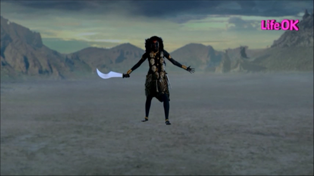 File:Goddess Kali Standing in The Battlefield, Armed With Scimitar.png