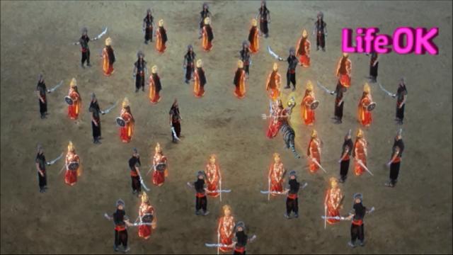 File:Durgasur's Clones and Goddess Durga's Female Warriors Surround Durgasur and Goddess Durga.png
