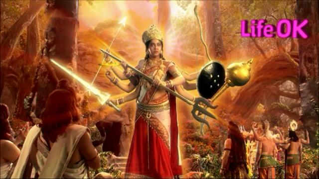 File:Eight-Armed Goddess Adishakti Reprimands Tridev.png