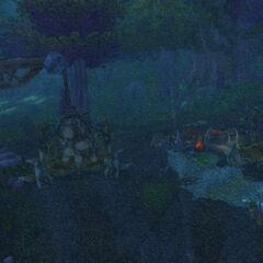 In einem kleinen Holzfällerlager schlugen die Schwarzkiefer ihr Lager auf.