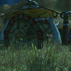 Der Häuptling der Schwarzkiefer heißt einen fremden Orc im Lager der Schwarzkiefer willkommen.