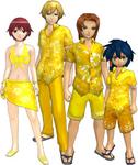 "Marcus Damon, Thomas H. Norstein, Yoshino ""Yoshi"" Fujieda, and Keenan Crier (Yellow Vacation Clothes) dm"