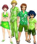 "Marcus Damon, Thomas H. Norstein, Yoshino ""Yoshi"" Fujieda, and Keenan Crier (Green Vacation Clothes) dm"