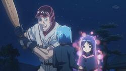 Isumi summoning bat player to launch Hayate to spaceship