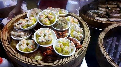 Hong Kong Buying Dim Sum at Street Market North Point