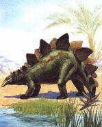 Dinosaurus-Stegosaurus-BesideSwamp