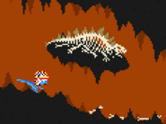 Stegosaur seleton in the volcano