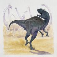 Yangchuanosaurus-running-in-the-forest