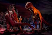 T-rex vs stegosaurus at DL