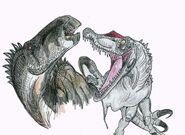 Baryonyx chases iguanodon by hodarinundu-d36az4j