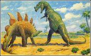 1920s Charlesknight stegosaurus and ceratosaurus