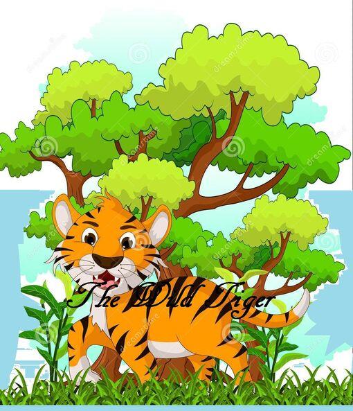 Tiger-cartoon-forest-background-illustration-34191636