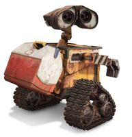 WALL-E with a cooler on his back