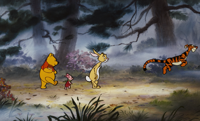 File:Winnie the Pooh Tigger Piglet and Rabbit go on a misty walk.png