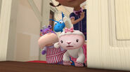 Hallie, stuffy and lambie by the door