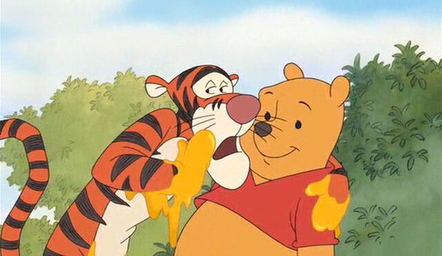 File:Tigger tells Pooh Bear he uses honey to stop the itching.jpg