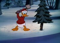 Donald about to chop down a tree